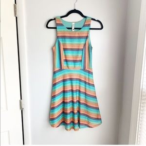 Pink Owl Striped Knitted Dress Size Small
